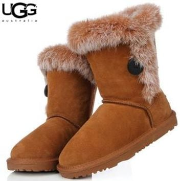UGG fashion casual men and women with velvet button snow boots