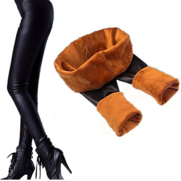 Winter Women Leather pants plus thick velvet super soft gold velvet trousers warm pants bottoming 2016 new Skinny Pants Z2479