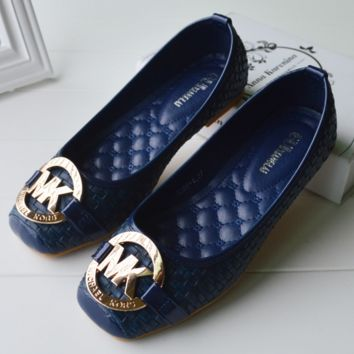 MK Fashion Letter Buckle Print Women Casual Single Shoes Shallow Mouth Flats Shoes White G