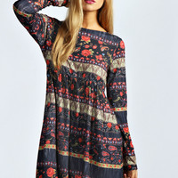 Taylor Floral and Paisley Print Smock Dress