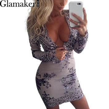 Glamaker Deep V neck long sleeve embroidery sequin dress Autumn mesh women bodycon dress 2016 sexy party winter dress vestidos