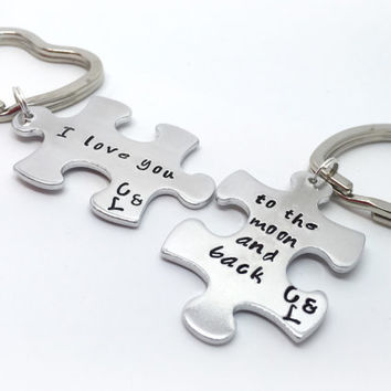 Love you to the moon and back Set of two hand stamped couples puzzle/jigsaw piece keyrings personalised boyfriend,girlfriend gift ideas