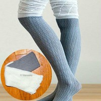 Gray & Ivory Slouchy Two Tone Knitted Boot Socks