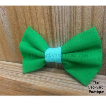Green bowtie collar slide, earth day bowtie,  green and blue Bowtie, bowties for dogs and cats, green with blue Bowties for dogs, neckwear