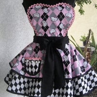 Hello Kitty Plaid and Harlequin Womens Apron