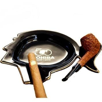 COHIBA Classic Design Cigar and Smoking Pipe Ashtray Black Ceramic W/ Gift Box