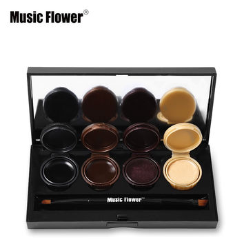 Music Flower Waterproof Naked Eyeshadow Cream Palette Makeup Maquillaje Smoky Eye Shadow Gel Eye liner Makeup Set with Brushes
