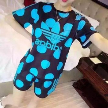 DCCKXT7 Adidas' Women Sport Casual Multicolor Letter Polka Dots Print Short Sleeve Shorts Set Two-Piece Sportswear