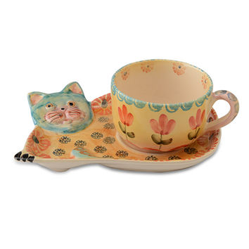 Festa Cat Teacup and Saucer (set of 4)