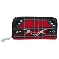 Red Tartan Plaid Punk Handcuff Skull Charm Zip Around Wallet
