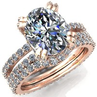 Charming Oval Moissanite Double Band Double Prong Engagement Ring