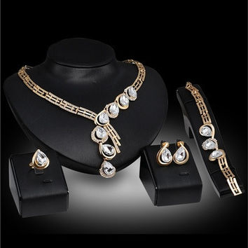 G Valentine's Day Gift Chunky European Jewelry 18K Pendant Design Austrian Crystal Necklace Bracelet Ring Earrings 4PCs Jewelry Set for Women [8081687815]