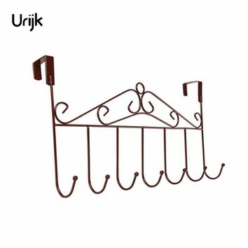 Urijk Door Back Storage Organizer Metal Rack Hangers Shelf Bedroom Hanging Office Organizer Hooks Hanging Clothes Key Organizer