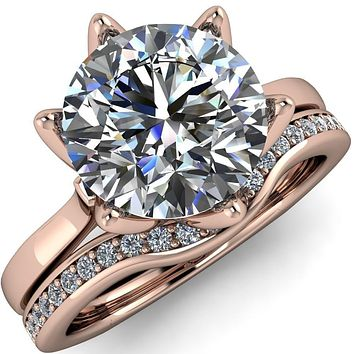Adalyn Round Moissanite Cathedral 6 Petal Prong Euro Shank Engagement Ring