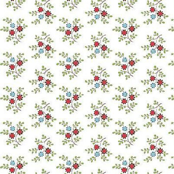 Quilting Treasures Bleecker Street Cotton Fabric, Floral Fabric, Small Bouquet of Tiny Flowers on White Background  Small Flowers on White