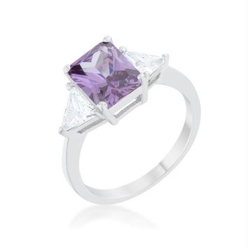 Classic Amethyst White Gold Rhodium Engagement Ring