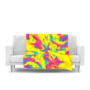 "Danny Ivan ""Bubble Gum Explosion"" Pink Yellow Fleece Throw Blanket"