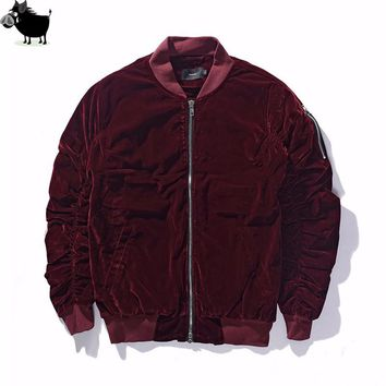 2018 New Arrived Kanye West MA1 Good Quilted Fall Rockstar Vantage Style Pleated Sleeve Velour Bomber Jacket Men