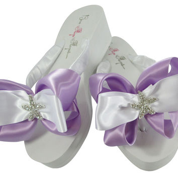 Orchid Purple Starfish Wedge Heel Flip Flops