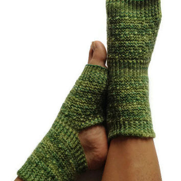 MADE TO ORDER Yoga Socks Hand Knit in Shades of Green Pedicure Pilates Dance