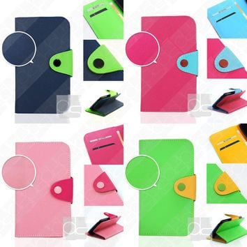 Apple iPhone 4G 4 G S 4S 4GS 4th Gen 5 5G 5GS 5S 5th 5C C Case: Flip PU Leather Hard Wallet Skin Case Stand Cover Pouch w Card Slots (LS)