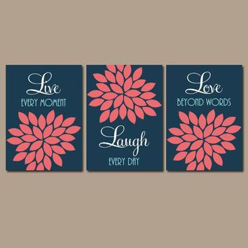 Navy Coral Wall Art, CANVAS or Prints, Live Laugh Love Wall Art, Bedroom Pictures, Bathroom Decor, Flower Wall Art, Set of 3 Wall Decor