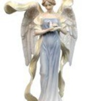 Religious Statue | Angel with Dove in Blue Dress