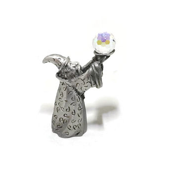 Vintage Spooniques Wizard Pewter Figure Holding a Crystal Balls CMR 592 1988 Fantasy Gothic Decor