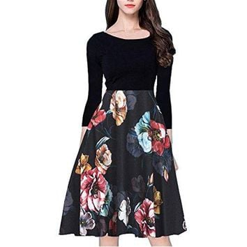Women's Pocket Vintage Patchwork Flowers Casual Party Flared Dress