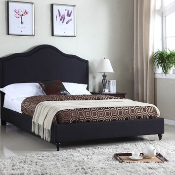 "New Century® Black Linen 51"" Inches Headboard Platform Bed"