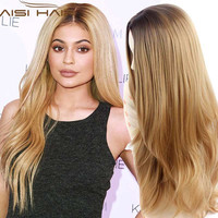 "Synthetic Wigs 28"" Long Ombre Blonde Wig Drag Queen Hair Cheap Female Wigs for Black Women Ombre Long Wavy Curly Hair"