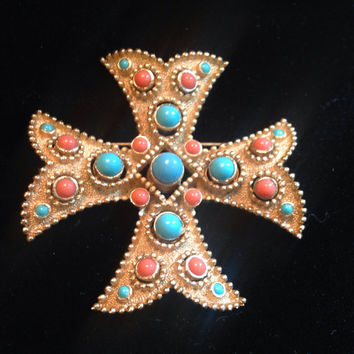 SALE30% Trifari Maltese Cross Brooch Turquoise Coral Cabochons