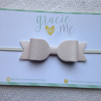 Vanilla Faux Leather Bow on Ivory Skinny Elastic Headband - Hair Clip- by Gracie and Me