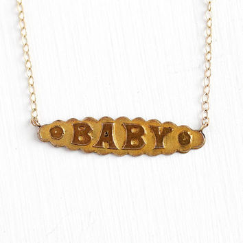 Antique Baby Necklace - Vintage 10k Rosy Yellow Gold Filled Pin Conversion Pendant - Edwardian Era 1900s Bar Brooch Text Nameplate Jewelry