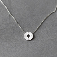 vintage scratch tiny Gold Compass necklace, Minimalist nautial necklace, unique pendant, Birthday Gift, Dainty Necklace, Compass jewelry