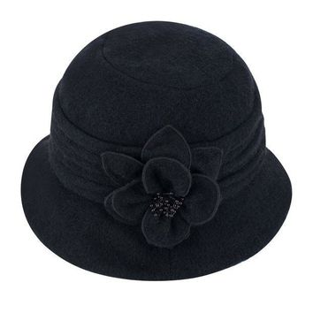 ICIK4S2 Lawliet Womens Gatsby 1920s Winter Wool Cap Beret Beanie Cloche Bucket Hat A299
