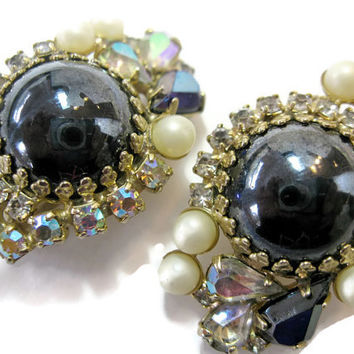Designer Hobe Hematite AB Crystal Rhinestone Pearl Earrings, Gorgeous Glam and Glitz