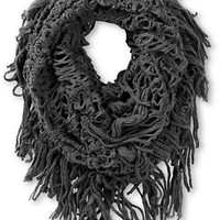 D&Y Grey Fringe Knit Infinity Scarf