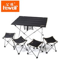Hewolf Outdoor Foldable Fishing Camping Garden Table and 4 Chairs