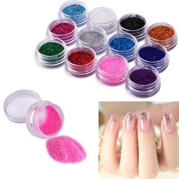 NAIL GLITTER 12 Color Powder Decor Nail Art Powder Sparkly Dust Acrylic UV Powder Dust gem Polish Nail