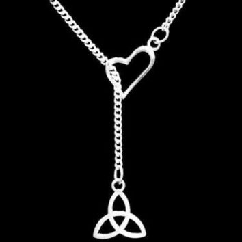 Heart Celtic Knot Triquetra Irish Trinity Loyalty Friend Gift Lariat Necklace