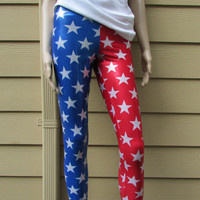 Shiny Red and Blue Stars Spandex Leggings