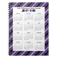 Black Purple Lace Pattern yearly calendar Spiral Notebooks