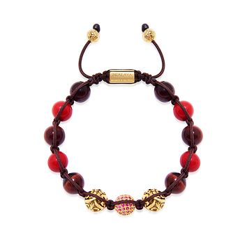 Men's Beaded Bracelet with Red Jade, Red Tiger Eye, and Gold