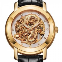 BOS 9007G Diamond Scale Chinese Dragon Pattern Automatic Mechanical Watch for Men - White And Black