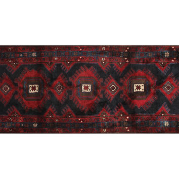 Rug 4'x10' Persian Village  Rug, Red, Area Rugs
