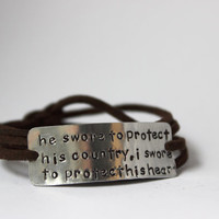 """deployment bracelet, hand stamped, """"protect country, potect heart"""", military wife, military girlfriend, deployment jewelry, military jewelry"""