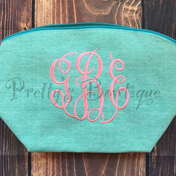 Monogram Make-up Bag  -- Embroidered personalized cosmetic bag