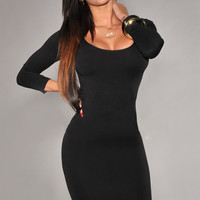 Black Long Sleeves Scoop Neck Bodycon Mini Dress