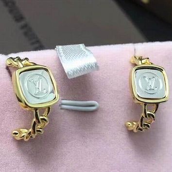 LV Women Fashion Diamonds Gold Plated Stud Earring